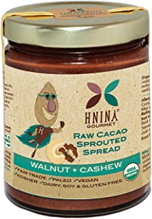 product image for HNINA Gourmet Organic Sprouted Nuts & Raw Cacao Spread – Walnut + Cashew
