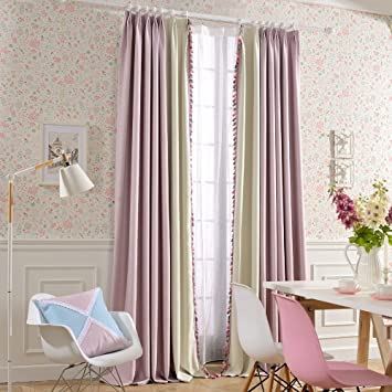 Great Melodieux Sweety Pompon Thermal Insulated Blackout Curtains For Girls Room,  52 By 84 Inch,