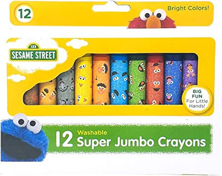 Sesame Street 12-Count Washable Jumbo Crayons Assorted Colors