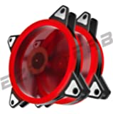 EASYDIY 120mm Red Dual Ring LED Silent Fan for Computer Cases, CPU Coolers, and Radiators Ultra Quiet High Airflow Computer Case Fan, 3-Pin Two Pack