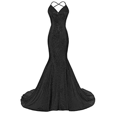 Dys Women's Sequins Mermaid Prom Dress Spaghetti Straps V Neck Backless Gowns at Women's Clothing store