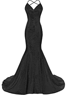 DYS Womens Sequins Mermaid Prom Dress Spaghetti Straps V Neck Backless Gowns