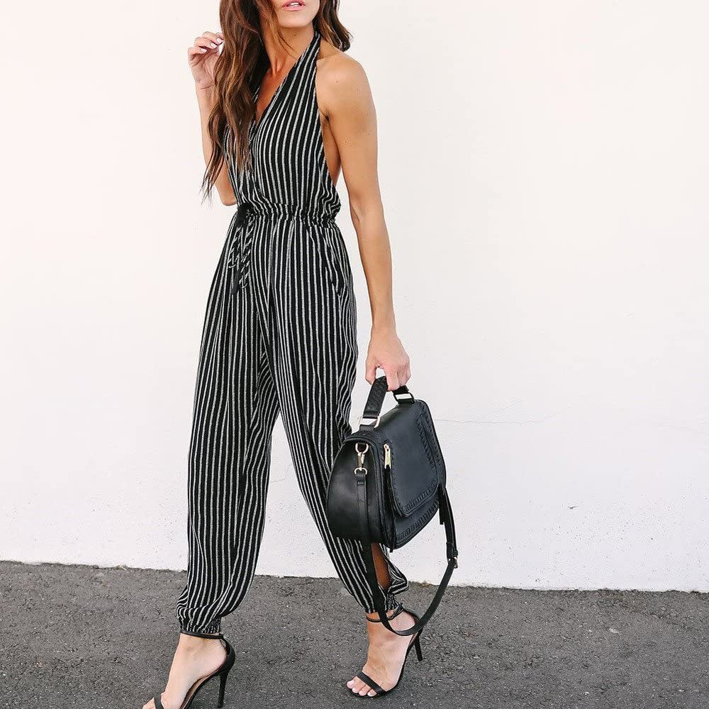 Womens V-neck Striped Sling Sleeveless Jumpsuit Camisole Stripe Print Loose Playsuit Long Wide leg Trousers Black,M