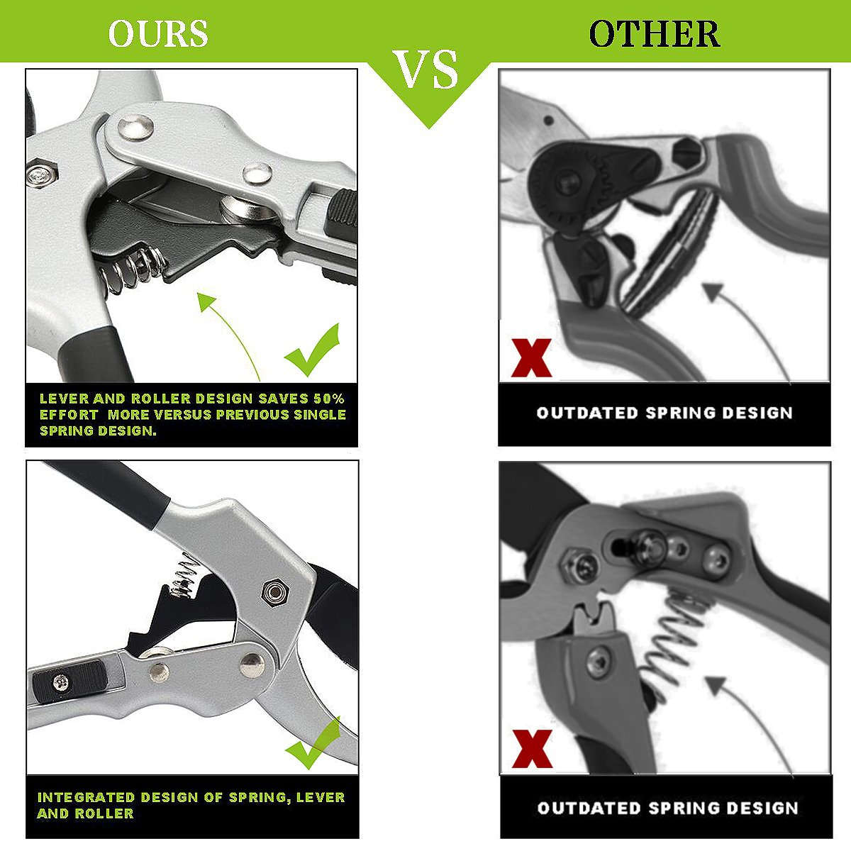 Pruning Shears Silver Black Pruner SK-5 Steel Blade Hand Pruners Garden Trimmers Plant with Whetstone and red Holster for Garden