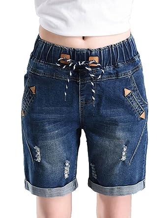 1e92f0a2e6 PHOENISING Women's Fashion Elastic Band Waist Short Jeans Stretchy Ripped  Hole Denim Shorts Dark Blue 10