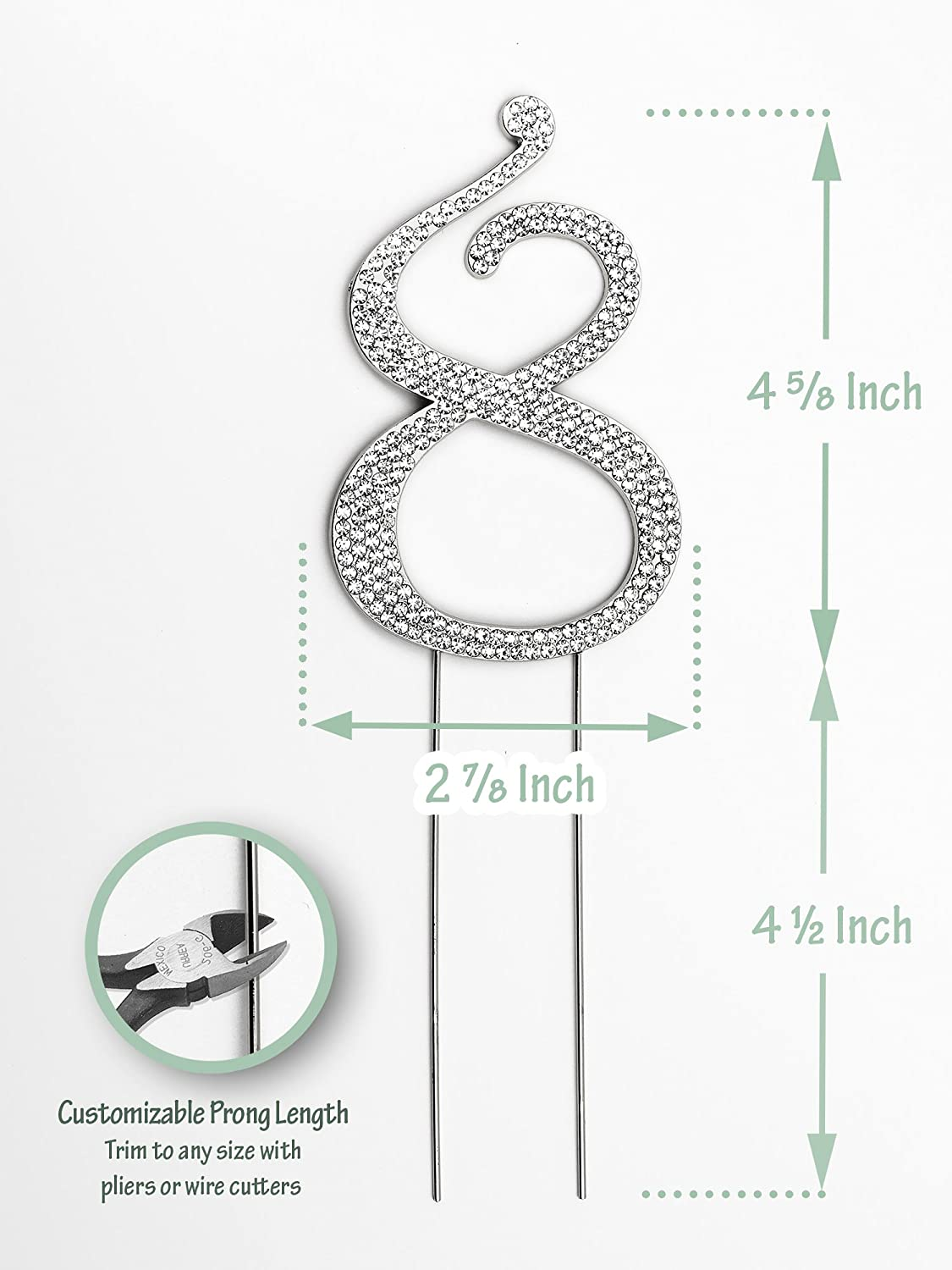 Sparkly Rhinestones Number 0 Cake Topper Birthday Wedding Wiring Diagram For Pepsi Sign Anniversary Silver Grocery Gourmet Food