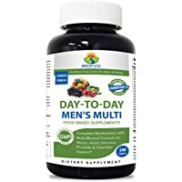 Brieofood Mens Multivitamin 180 Tablets, Food Based daily Multivitamin for men made with Vegetable Source Omegas, probiotics and herbal blends