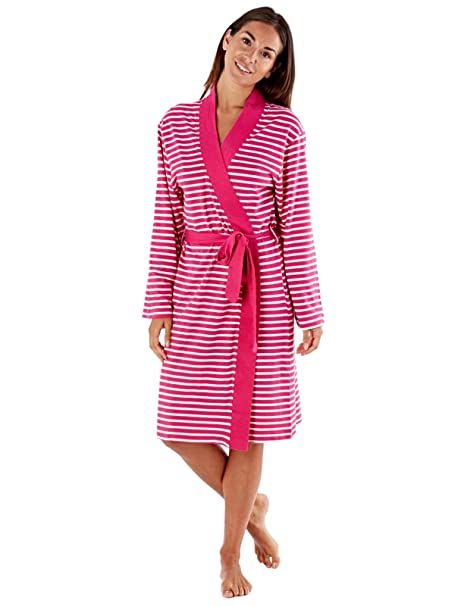 selena secrets Womens Soft Jersey Dressing Gown Wrap Striped at Amazon  Women s Clothing store  d43103eee
