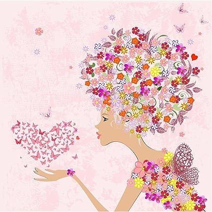 Les Fleurs Lady Jolie Fruhlingskarte Ou D Anniversaire Pour Fille Femme Beste Freundin Amazon Fr Fournitures De Bureau