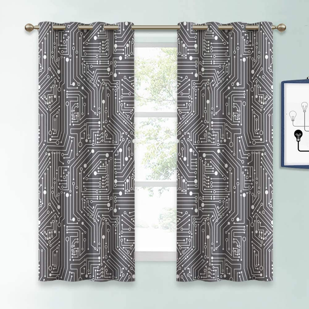 KGORGE Geometric Print Curtains Blackout - Simple Bold White Dots Lines Tech Pattern, Abstract Window Decor for Kitchen/Home Office/Bedroom/Family Room, 2 Pcs, 52 x 63 inches, Grey