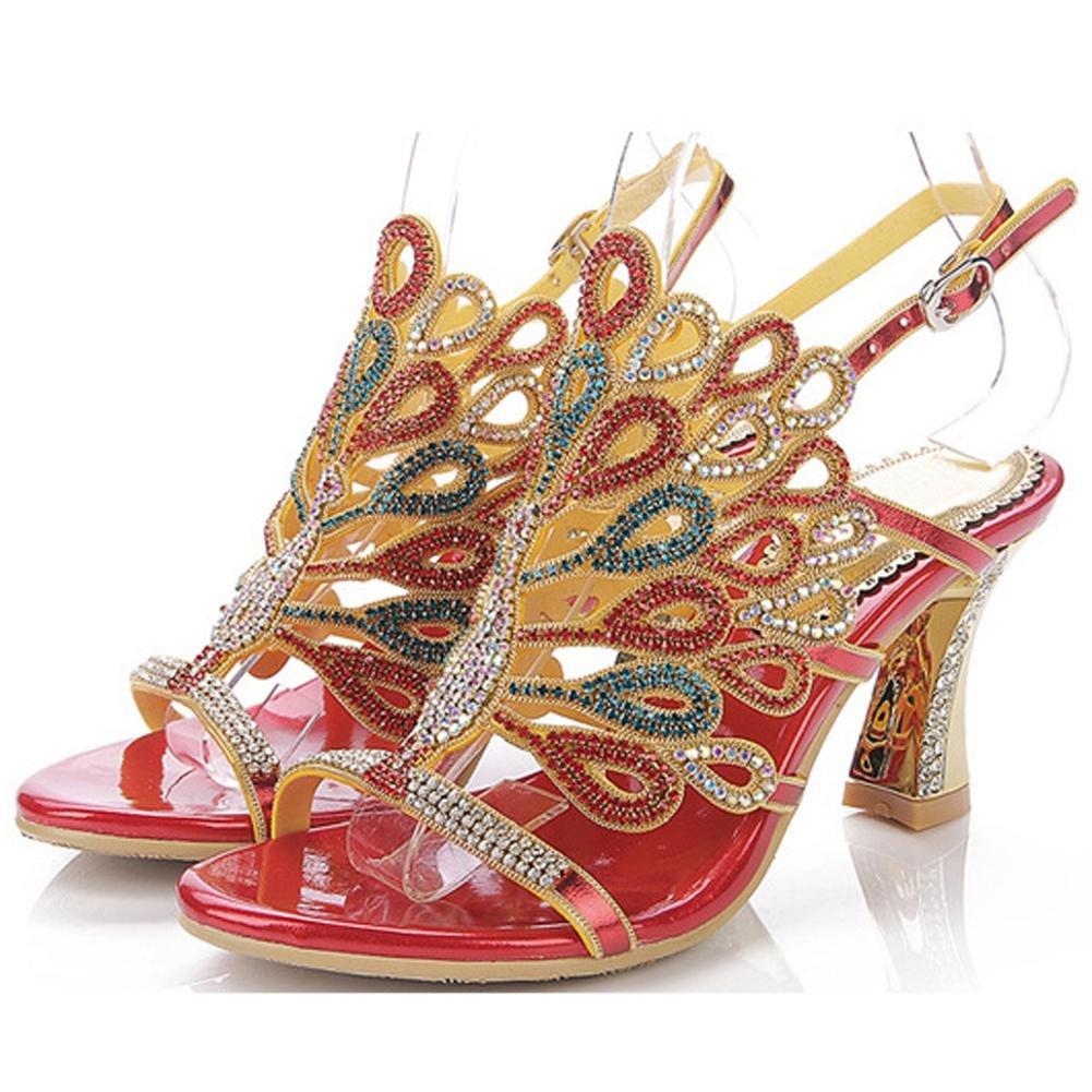 Luxuriouml;s Kristall Dicke High Heels Diamant Sandalen Handgefertigt Leder Frau Abend Bankett Party Nachtclub Pumps Hohl Schnalle Hausschuhe Schuhe36|red