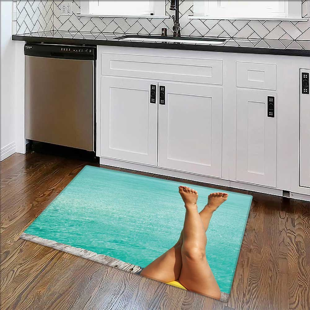 Non-slip Thicken Carpet Woman's legs at beach jetty Easier to Dry for Bathroom W34'' x H21''