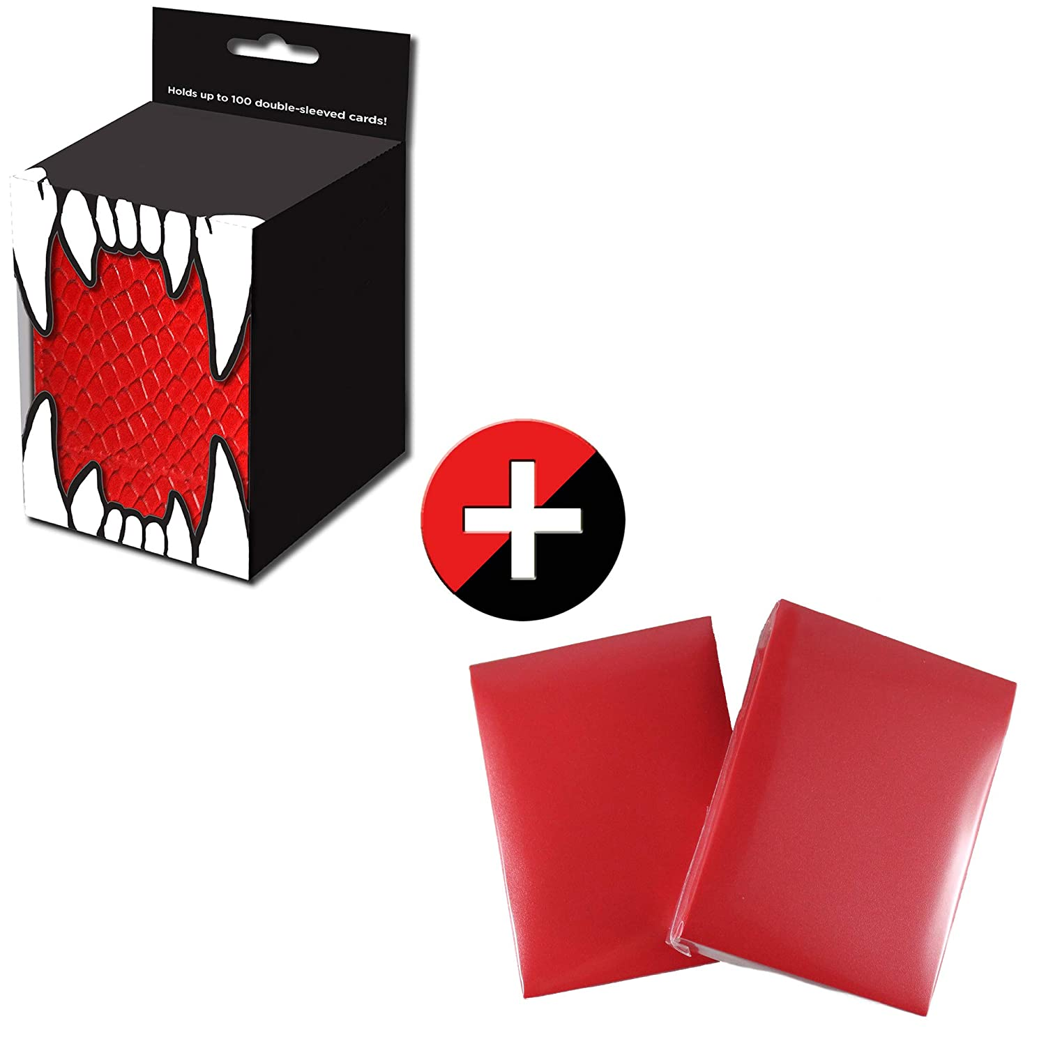 Totem World 100 Red Matte Card Sleeves with Red Dragonhide Deck Box for Standard MTG Yugioh Pokemon Cards Holds up to 100 Trading Cards
