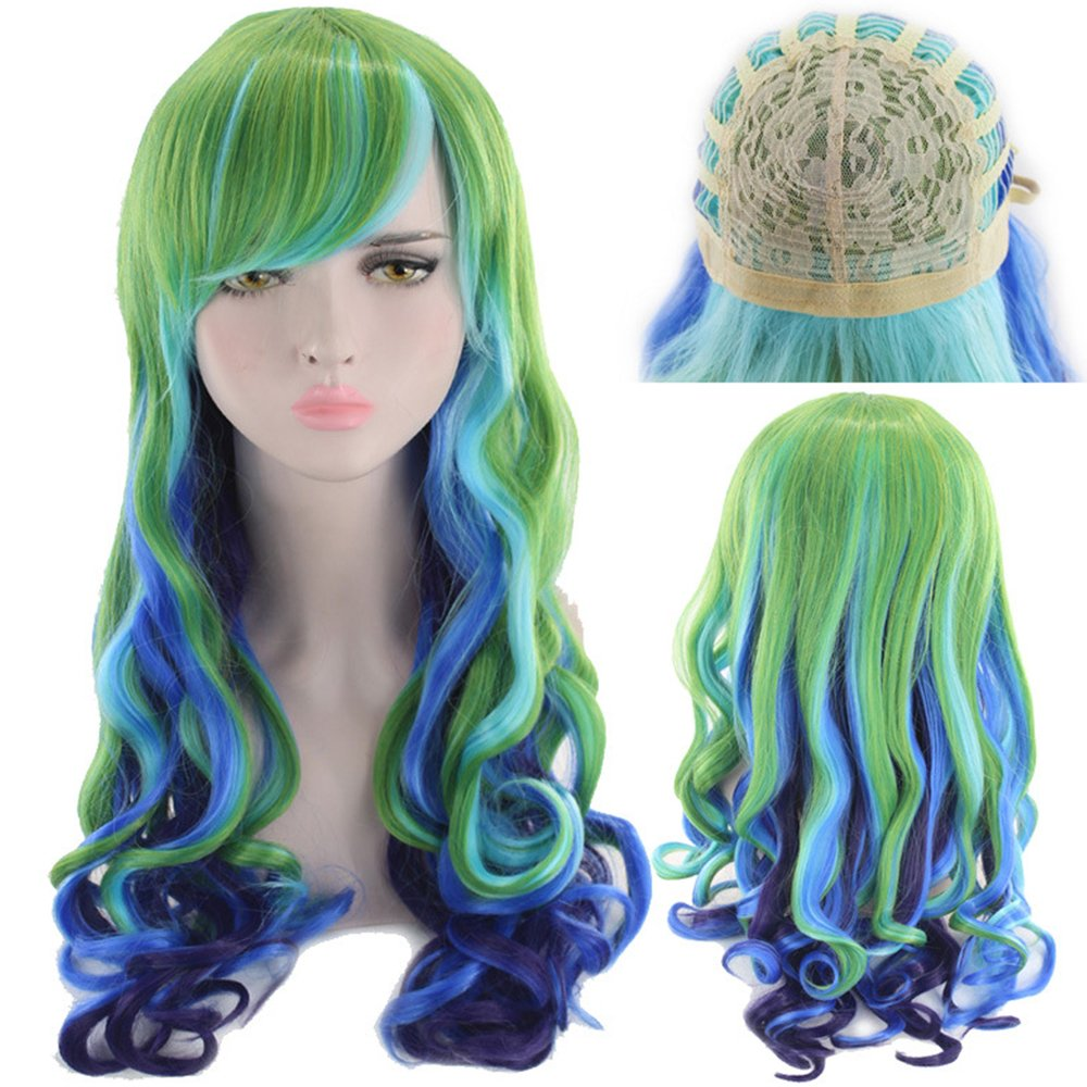 Rainbow Wigs for Women 24 Inches Long Synthetic Drag Wig Colorful Wigs for Cosplay Costume Party