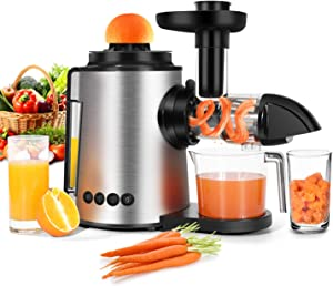 Masticating Juicer, Sagnart Slow Juicer Machine 2 in 1 Citrus Juicer Antioxidant Cold-Press Juicer, Mute and Reverse Function Juicer Extractor for Fruits or Vegetables with Juice Cup & Brush