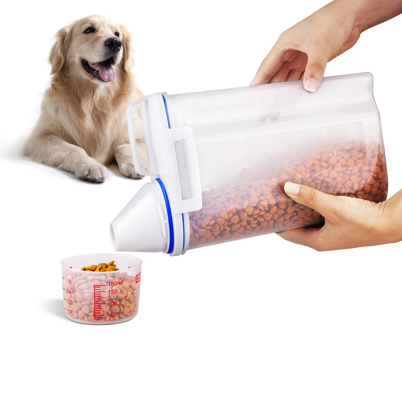 Dog food storage container, Cakie Nesting Airtight Pet Food Container with Graduated Cup and Seal Buckles Food Dispenser for Dogs Cats (white)