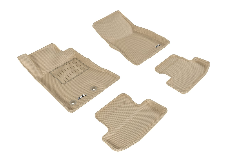 L1FR08511502 3D MAXpider Front Row Custom Fit Floor Mat for Select Ford Mustang Models Tan Kagu Rubber
