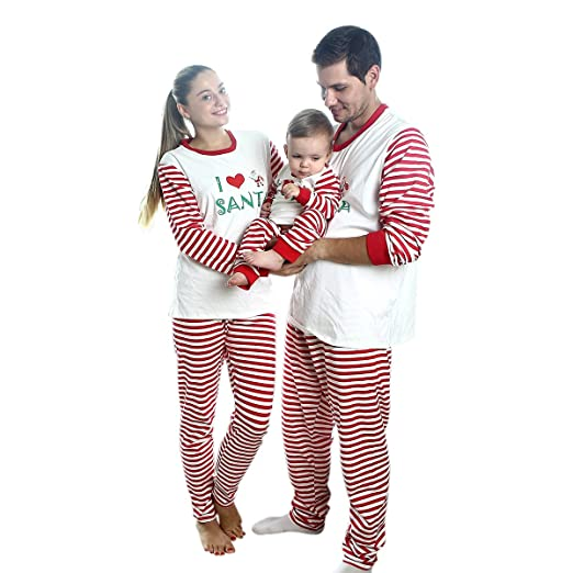 727c338400 Image Unavailable. Image not available for. Color   quot I LOVE SANTA quot   Striped Family Matching Christmas Pajama ...