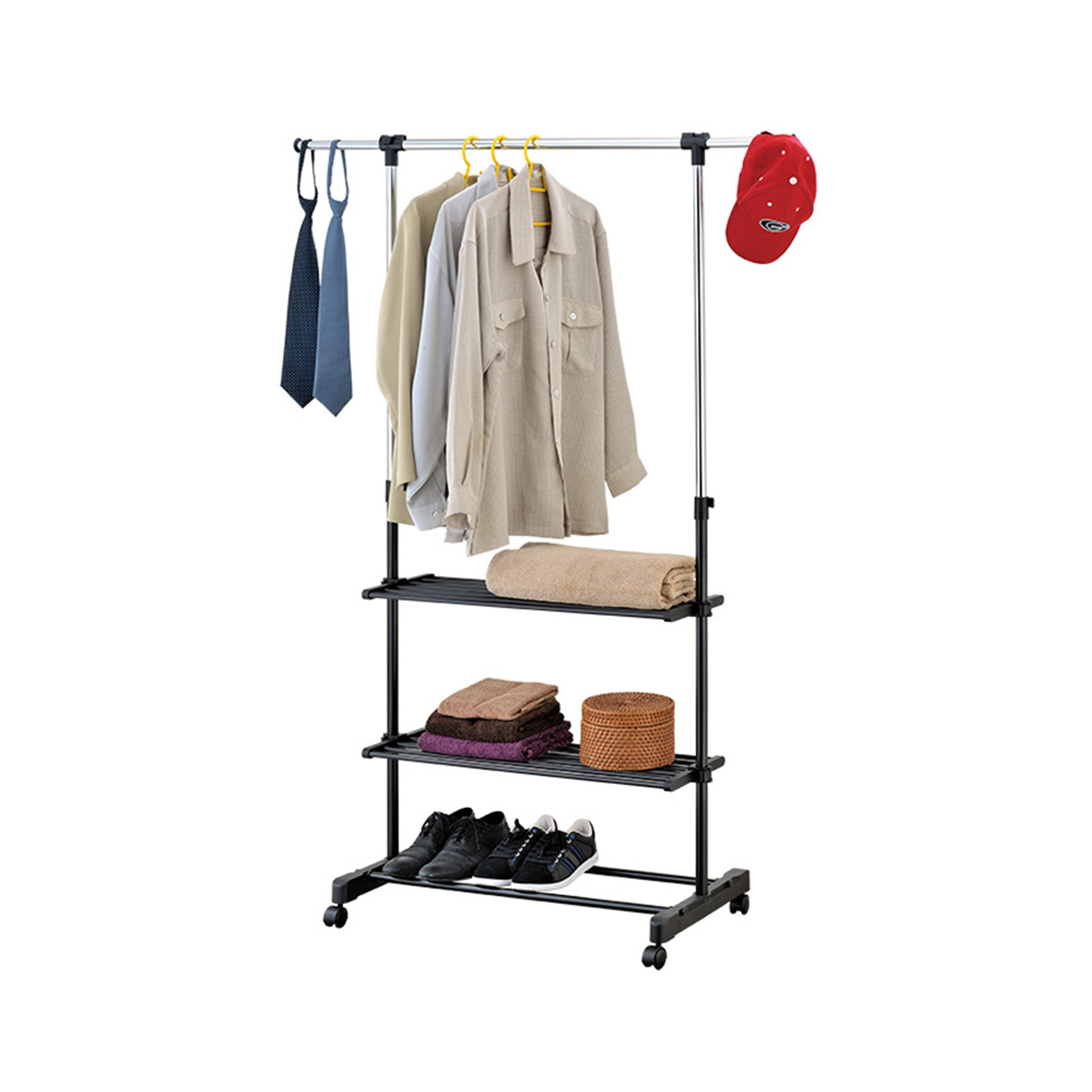Mind Reader Roll Garment Rack with 3 Shelves, Silver/Black