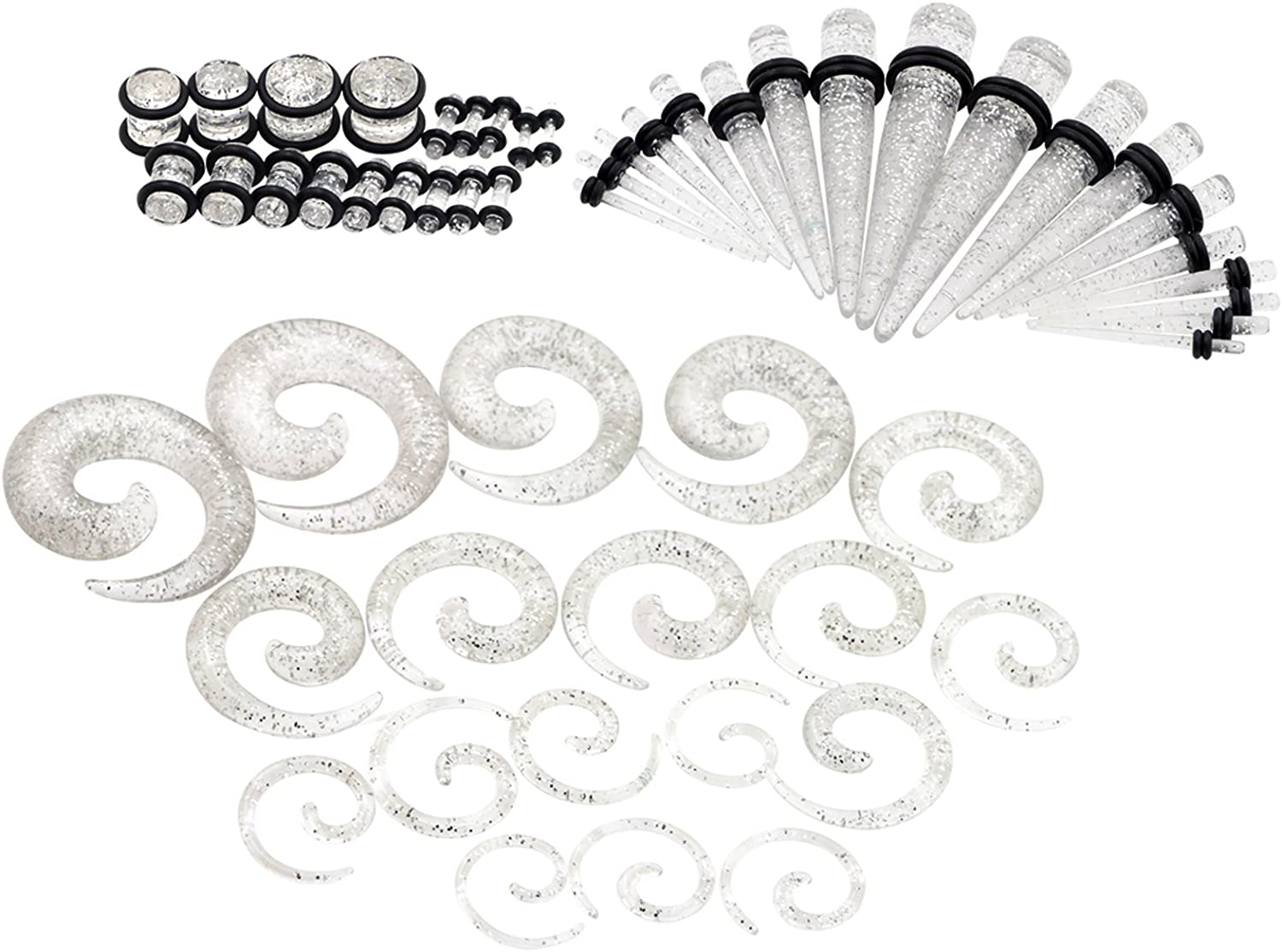 Oyaface 54PC Gauges Kit Ear Stretching 14G-00G Acrylic Spiral Tapers Plugs Boday Piercing Set