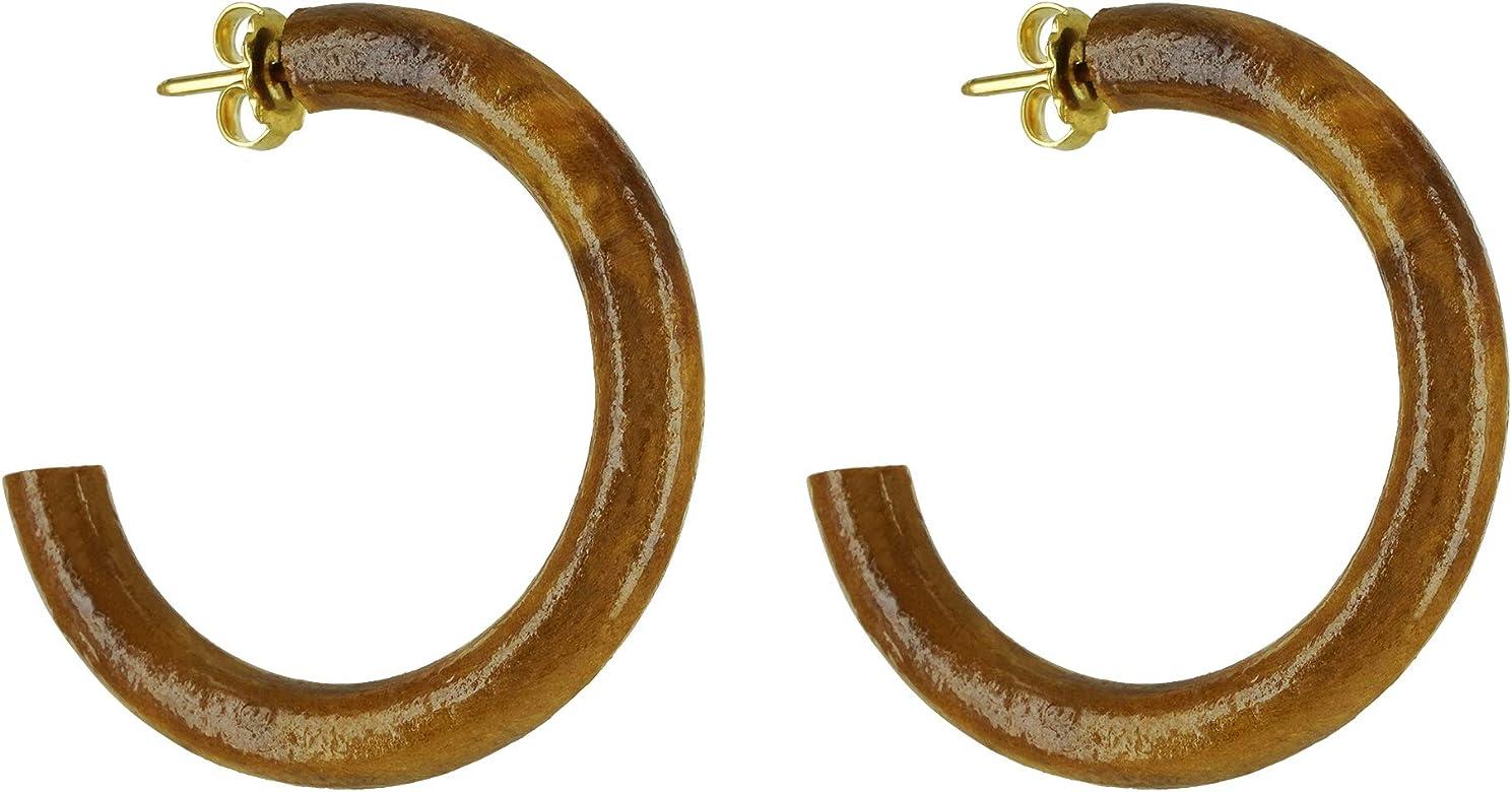 Pendientes de auténtica madera de olivo Elaborados a mano en España Producto natural de 3,8 cm de diámetro: Amazon.es: Joyería