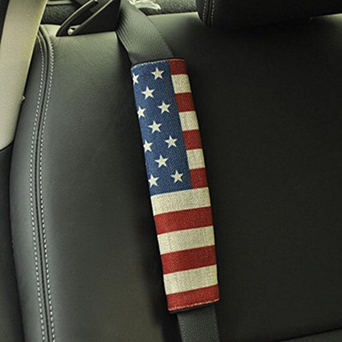 Car Truck Owners Comfortable Driving for Jeep Toyota Honda BMW Ford Chevrolet Nissan Subaru Hyundai VW Mustang Corvette Volvo Audi TK-KLZ Pack-2 American US Flag Seat Belt Cover Shoulder Pad Cushion