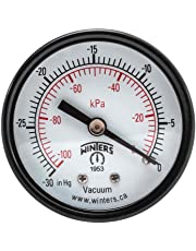 "Winters PEM Series Steel Dual Scale Economy Pressure Gauge, 30""Hg Vacuum/kpa, 2"" Dial Display, -3-2-3% Accuracy, 1/8"" NPT Center Back Mount"