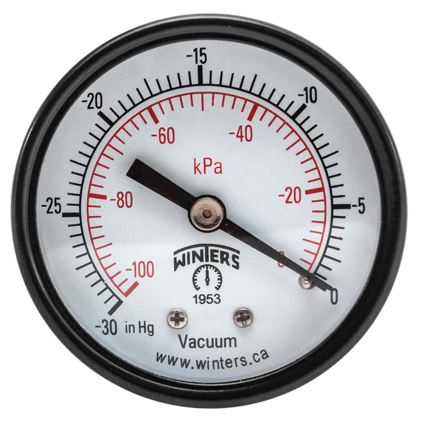 "Winters PEM Series Steel Dual Scale Economy Pressure Gauge, 30""Hg Vacuum/kpa, 2"" Dial Display, +/-3-2-3% Accuracy, 1/8"" NPT Center Back Mount"