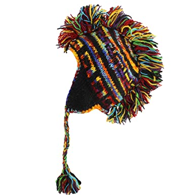 Clothing, Shoes & Accessories Rainbow Mohawk Hat Hippy Festival Wool Knit Earflaps Fleece Lined Adult Or Child