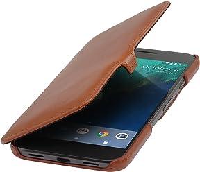 StilGut Book Type Case con Clip, Custodia in Pelle Cover per Google Pixel XL Originale Chiusura a Libro Flip-Case in Vera Pelle, Cognac