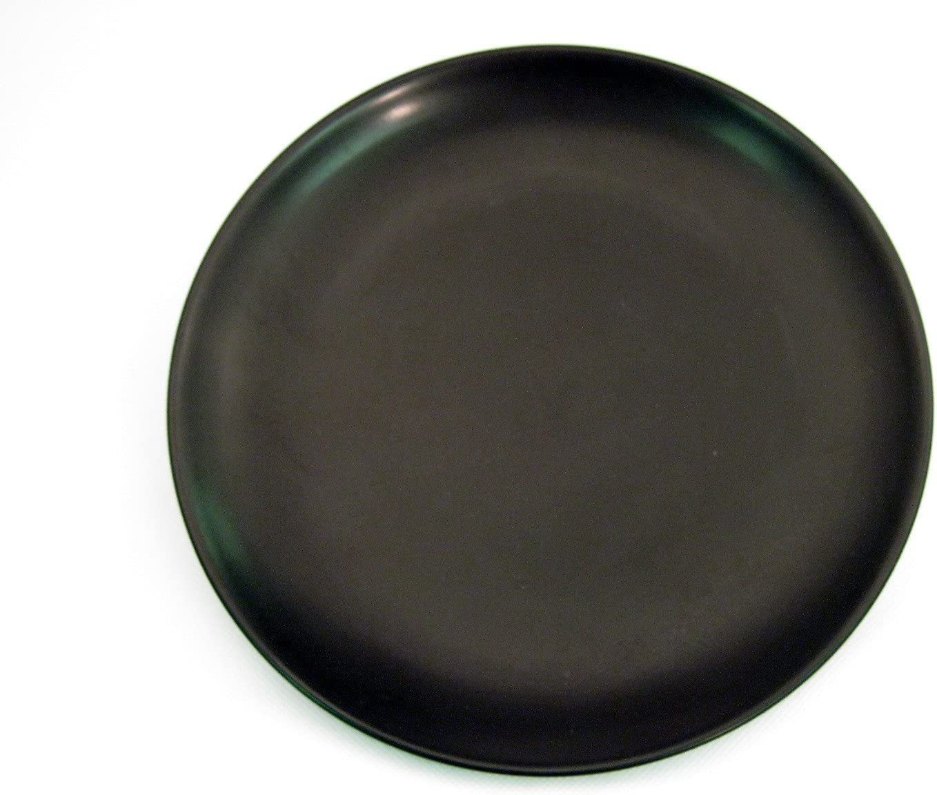 CAC China Japanese Style 10-Inch Non Glare Glaze Black Coupe Round Plate, Box of 12