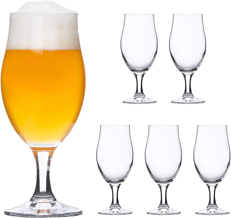 Bormioli Rocco | Juego de 6de Cerveza Cristal Executive | 0,3l calibrado | con Cerveza tulipán | Vasos Mango de Transparente | Cóctel de Taza, Plato de Cristal, Fiesta de Copas