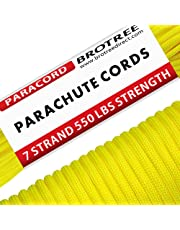 Brotree 550 Paracord 7 Strand Nylon Parachute Cord Type III Mil Spec Survival Cord - 550lb Breaking Strength (Standard, Reflective)