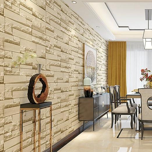 Murales de Pared 3D Papel pintado Ladrillo imitación El Ladrillo Retro se Utiliza Para Adornar la Sala de Estar el Dormitorio (B)
