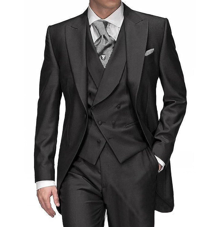 JYDress Peak Lapel Men Suits 3 Pieces Wedding Suit Slim Fit Evening Party  Tuxedos Black at Amazon Men s Clothing store  78bce9f7e8c