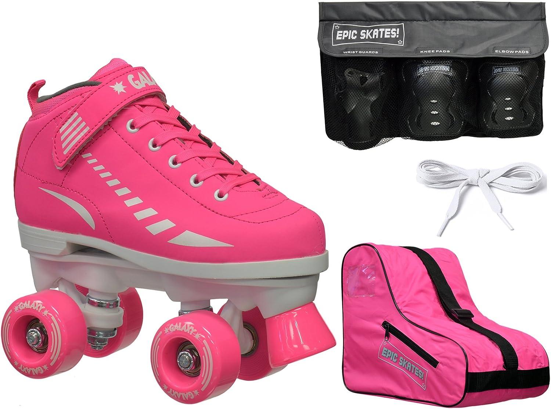 2016 エピックギャラクシーエリートピンククワッドローラースケート 4個 安全パッドとバッグ付きセット  Youth 5 / Small Pads