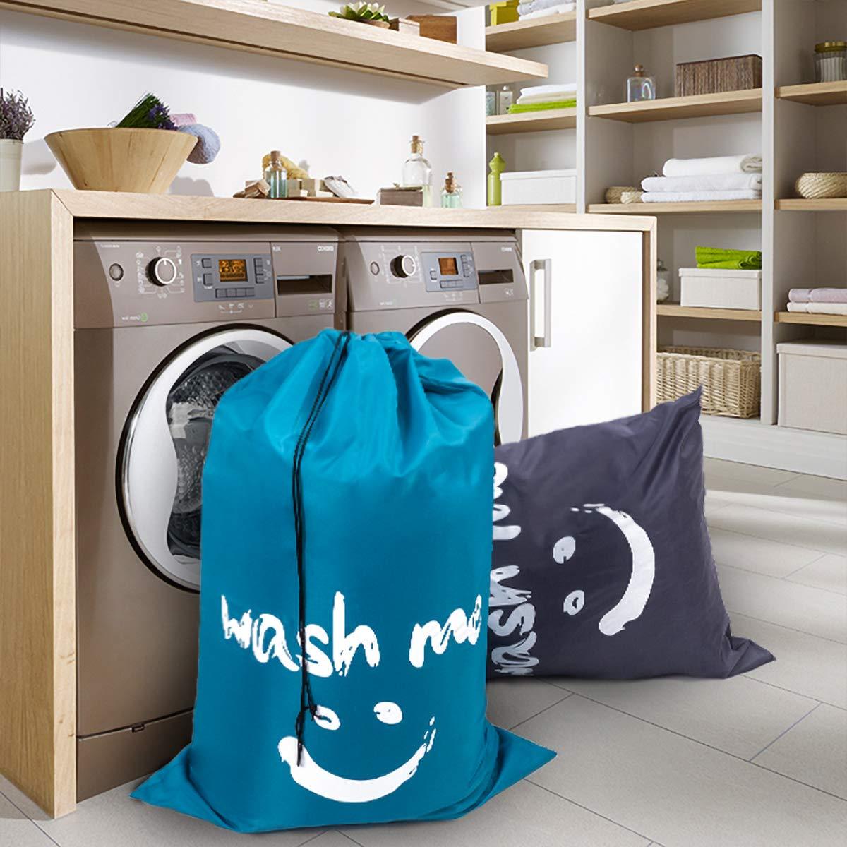 ZERO JET LAG 2 Pack Extra Large Travel Laundry Bag Set Nylon Rip-Stop Dirty Storage Bag Machine Washable Drawstring Closure 24'' x 36'' (Blue and Gray) by ZERO JET LAG (Image #7)