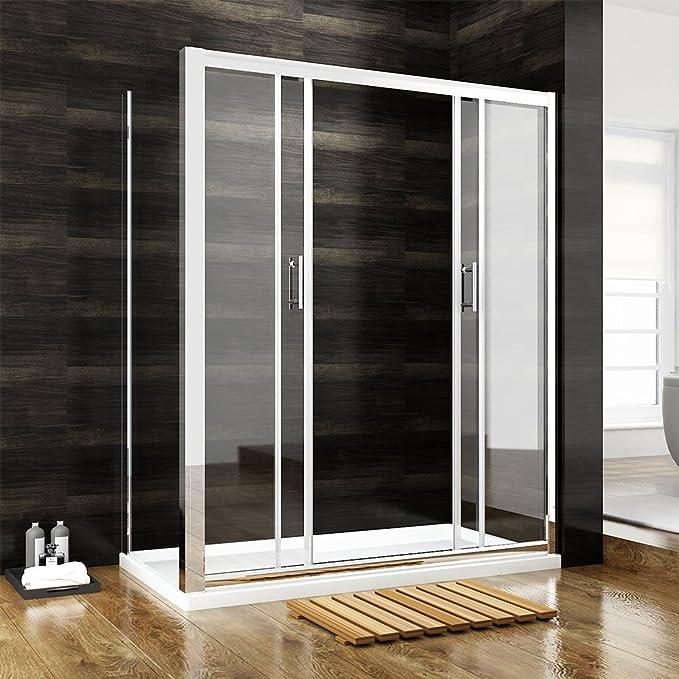 1200 x 700 mm cabina de ducha entrar doble puerta corredera 2-galvanizada para colgar de la pared de cristal/a la derecha y a la izquierda de los lados de la: Amazon.es: Hogar