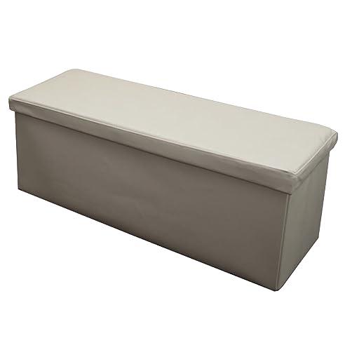 Sitzhocker Sitzbank Mit Stauraum Truhe 110x43x40 Cm ~ Creme, Beschichtetes  Leder