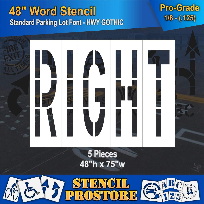 Pavement Marking Stencils - 48 inch Right Stencil - 48'' x 76'' x 1/8'' (128 mil) - Pro-Grade