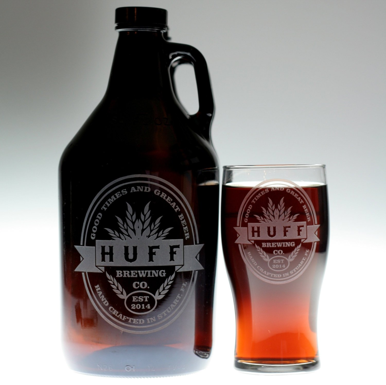Personalized Engraved Dad Gift of Homebrew Growler and 2 Glass Set with Double Oval with Middle Banner Art