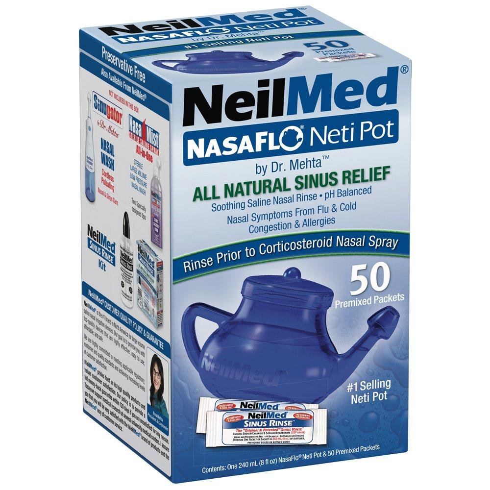 NeilMed NasaFlo Unbreakable Neti Pot with 50 Premixed Packets