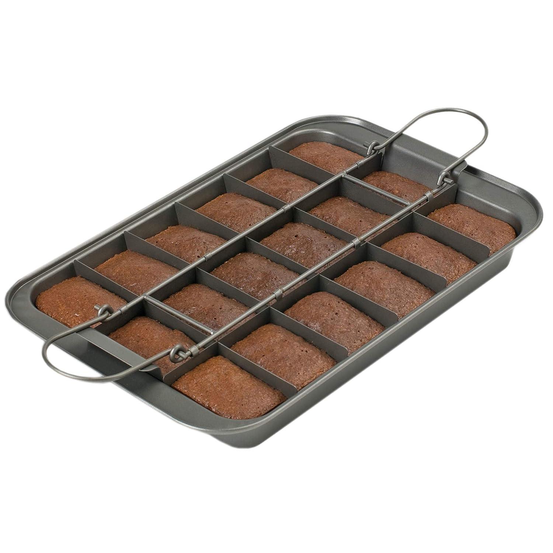 """Kitchencraft Chicago metálico profesional antiadherente Brownie lata con separadores y sueltos base, 23 x 33 cm (9 """"x 13""""), color gris"""