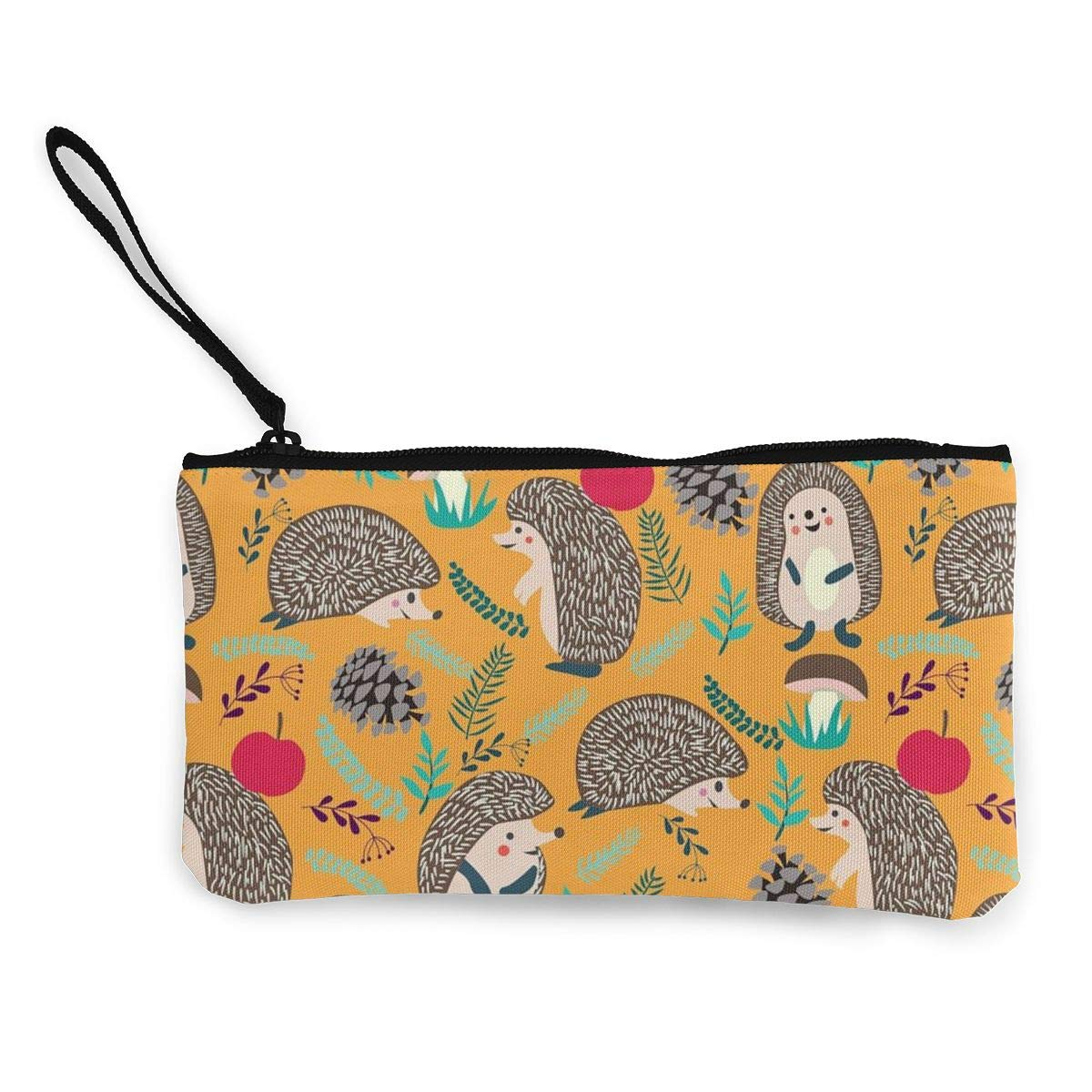 Coin Pouch Hedgehog Autumn Canvas Coin Purse Cellphone Card Bag With Handle And Zipper