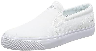 Nike Womens Toki Slip Canvas Casual Shoe Size 6.5 White/Metallic Platinum