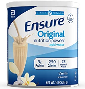Ensure Original Nutrition Shake Powder with 9 grams of protein, Meal Replacement Shakes, Vanilla, 14 oz, 3 Count