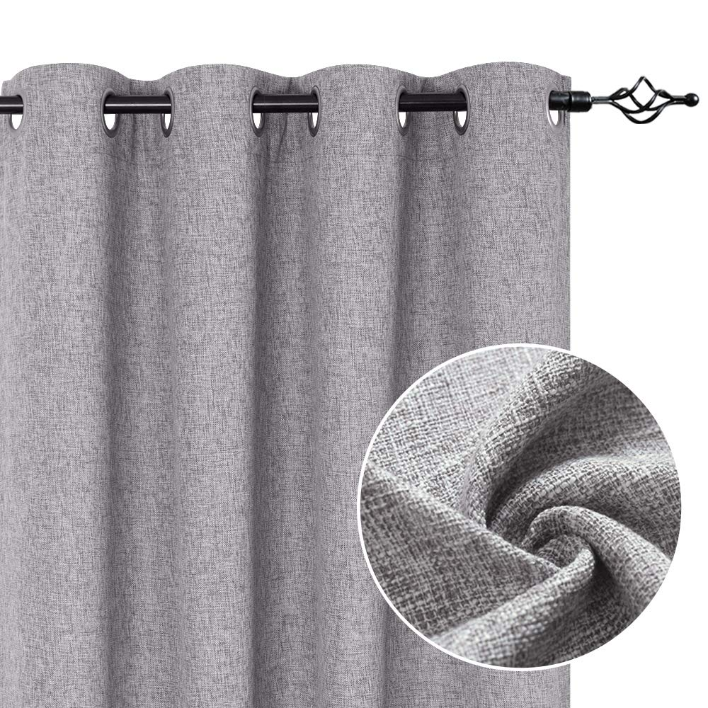 Grey Linen Textured Curtains for Living Room Burlap Light Filtering Window Treatment Set for Bedroom 95 inches Long Flax Drapes 2 Panels Grommets Top
