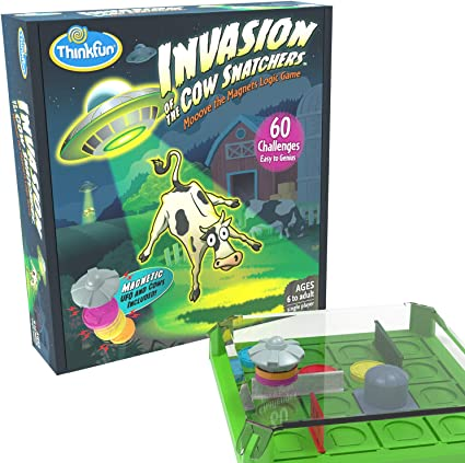 Amazon Com Thinkfun Invasion Of The Cow Snatchers Stem Toy And Logic Game For Boys And Girls Age 6 And Up A Magnet Maze Logic Puzzle Toys Games