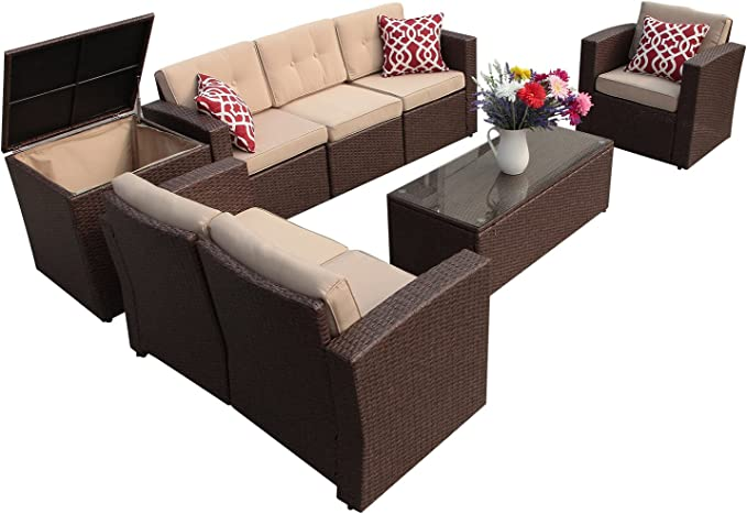 Super Patio Patio Furniture 8 Piece Outdoor Furniture Set Wicker Sectional Furniture With Storage Table Beige Cushions Three Red Pillows Brown Wicker Garden Outdoor Amazon Com