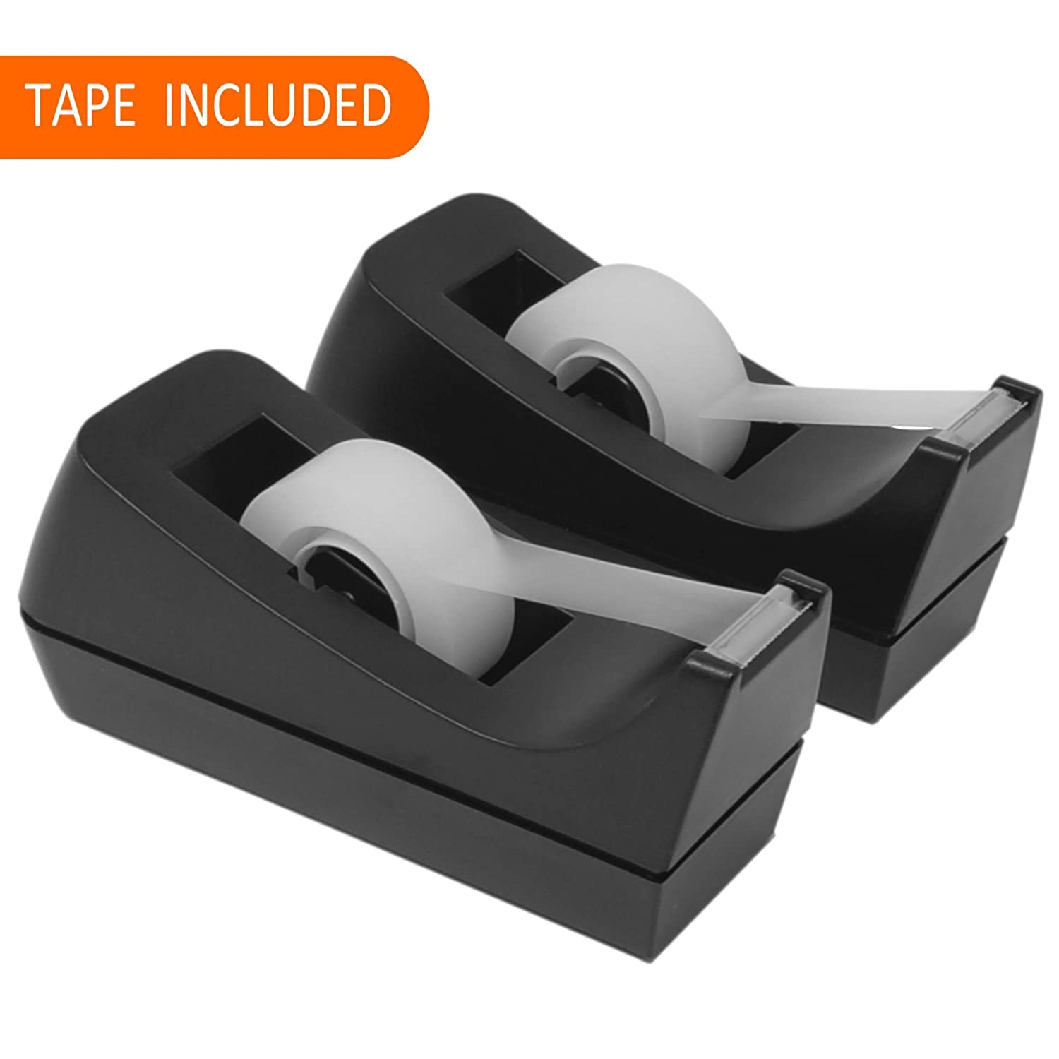 Desktop Tape Dispensers (2 Pack), Bundle Includes: 2 Tape Holders, 2 Rolls of Clear Tape, and 1 Free Letter Opener for Home or Office Joe' s Shop USA
